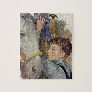 Quebra-cabeça Menino do vintage com seu cavalo de vencimento da