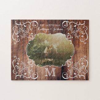 Quebra-cabeça Monograma de madeira do painel da foto rústica do