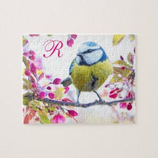 Quebra-cabeça Monograma do pássaro & das flores