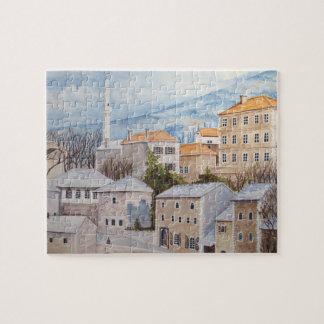 Quebra-cabeça Mostar, Bósnia - pintura acrílica de Townscape