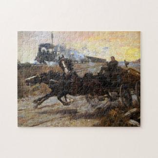 Quebra-cabeça Motor de vapor e equipe dos cavalos