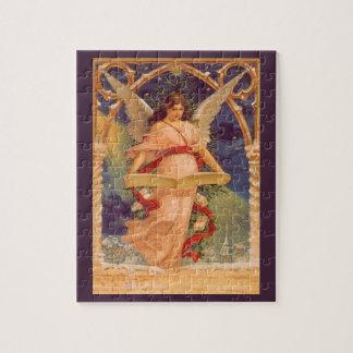 Quebra-cabeça Natal vintage, bíblia da leitura do anjo do