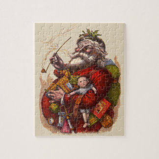 Quebra-cabeça Natal vintage, brinquedos da tubulação de Papai