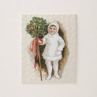 Quebra-cabeça Natal vintage, menina do Victorian com azevinho