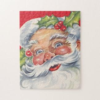 Quebra-cabeça Natal vintage, Papai Noel alegre com seu chapéu