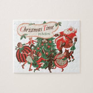 Quebra-cabeça Natal vintage Papai Noel e crianças da dança