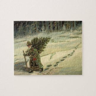 Quebra-cabeça Natal vintage, Papai Noel que leva uma árvore
