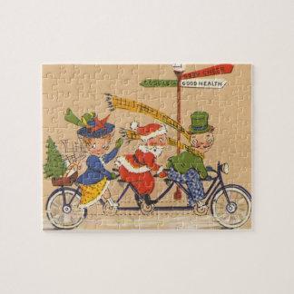 Quebra-cabeça Natal vintage, Victorian Papai Noel na bicicleta