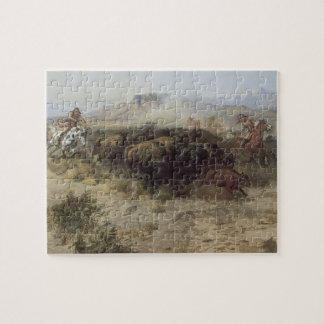 Quebra-cabeça No. 26 da caça do búfalo por CM Russell, indianos