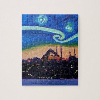 Quebra-cabeça Noite estrelado em Istambul Turquia