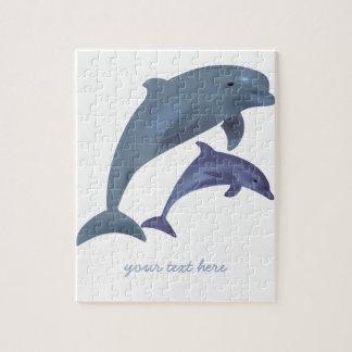 Quebra-cabeça Nome de salto da ilustração dos golfinhos