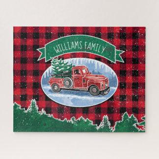 Quebra-cabeça O caminhão do vintage do Natal adiciona o nome