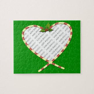 Quebra-cabeça O coração do bastão de doces adiciona seu quadro d