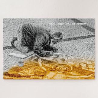Quebra-cabeça O pintor da rua pinta o Jesus Cristo no assoalho