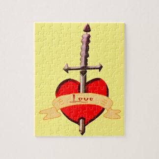 Quebra-cabeça o punhal do amor perfurou o coração