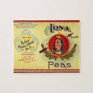 Quebra-cabeça O vegetal do vintage pode etiquetar a arte,