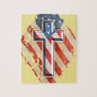 Quebra-cabeça Olhar cristão do vintage da cruz da fé da bandeira