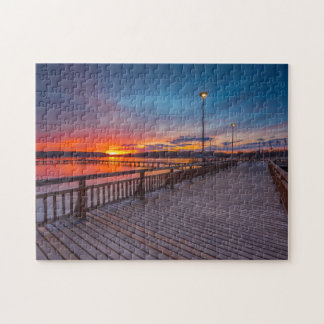 Quebra-cabeça Opinião 11x14 do por do sol do passeio à beira mar