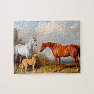 Quebra-cabeça Os cavalos e a foto da arte 8x10 do cão confundem