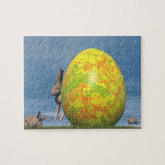 Quebra-cabeça Ovo da páscoa e lebre - 3D rendem