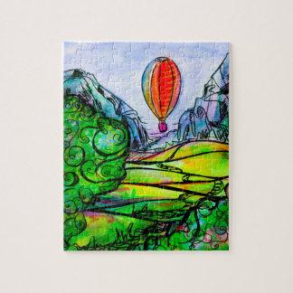 Quebra-cabeça Paisagem bonita da montanha com um balão grande