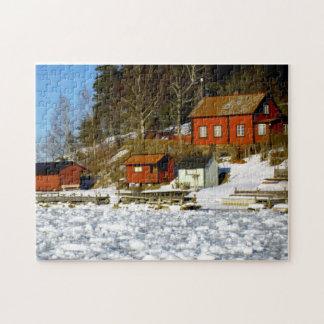 Quebra-cabeça Paisagem sueco no inverno com neve - mar congelado