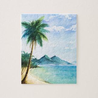 Quebra-cabeça Palma 8x10 da praia da aguarela