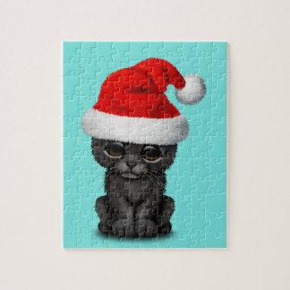 Quebra-cabeça Pantera preta bonito Cub que veste um chapéu do