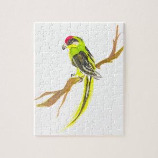 Quebra-cabeça Papagaio em um ramo. Pintura da aguarela