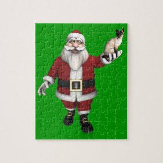 Quebra-cabeça Papai Noel ama gatos Siamese