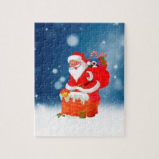 Quebra-cabeça Papai Noel bonito com a estrela da neve do Natal