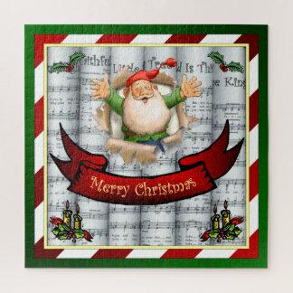 Quebra-cabeça Papai noel que quebra com a partitura do Natal do
