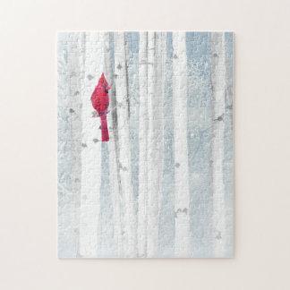 Quebra-cabeça Pássaro cardinal vermelho na árvore de vidoeiro