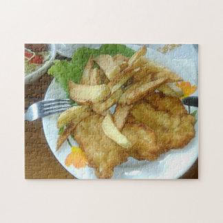 Quebra-cabeça Peitos de frango Roasted com batatas fritadas