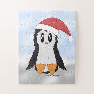 Quebra-cabeça pequeno bonito do pinguim do Natal