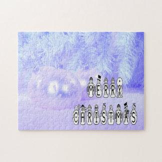 Quebra-cabeça Pessoas da pia batismal da neve do Feliz Natal,