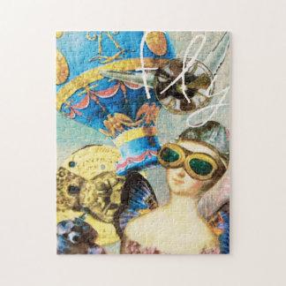 Quebra-cabeça Piloto lunático da mulher do balão de ar quente da