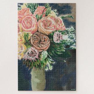 Quebra-cabeça pintado mão do buquê floral