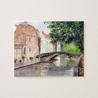Quebra-cabeça Pintura da aguarela de Bruges pelo Greenfield de