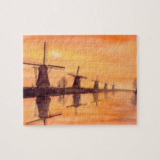 Quebra-cabeça Pintura da aguarela do por do sol dos moinhos de