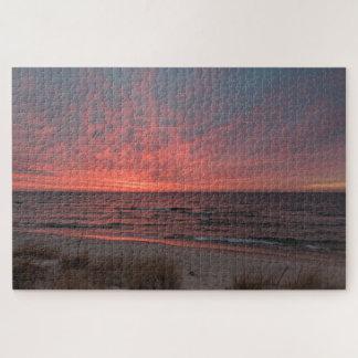 Quebra-cabeça Por do sol cor-de-rosa em dezembro no Lago