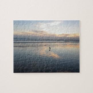 Quebra-cabeça Por do sol da gaivota -
