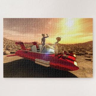 Quebra-cabeça Por do sol retro da ficção científica em Marte