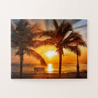 Quebra-cabeça Por do sol tropical vívido