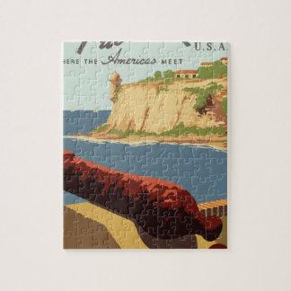 Quebra-cabeça Poster Puerto Rico das viagens vintage