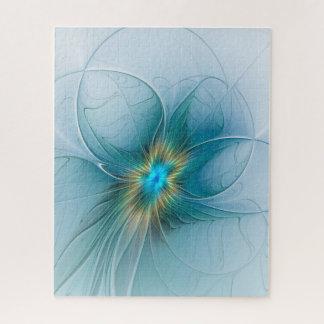 Quebra-cabeça Pouca flor azul moderna do Fractal do ouro da