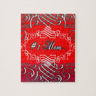Quebra-cabeça Presente vermelho da tipografia do dia das mães da