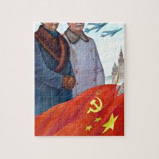 Quebra-cabeça Propaganda original Mao Zedong e Josef Stalin