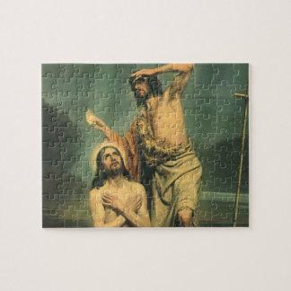 Quebra-cabeça Religião do vintage, baptismo do Jesus Cristo