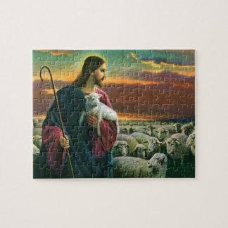 Quebra-cabeça Religião do vintage, cristo o pastor com rebanho